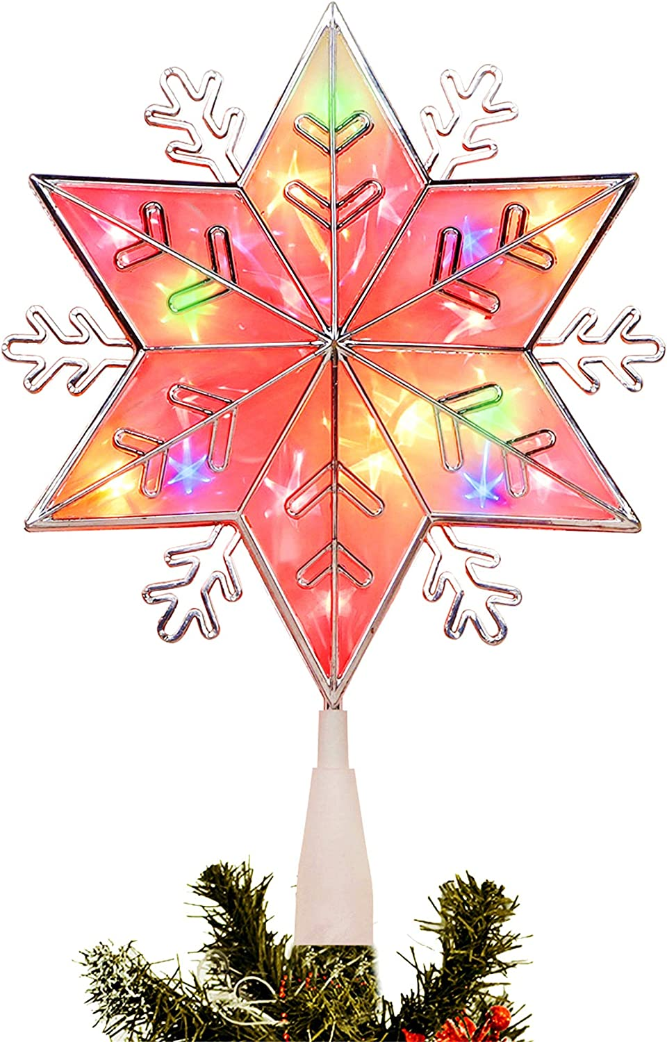 LJLNION Lighted Christmas Tree Topper, Colorful Plug in Star Treetop with 20 Incandescent Mini Fairy Lights, Holiday Christmas Tree Decorations