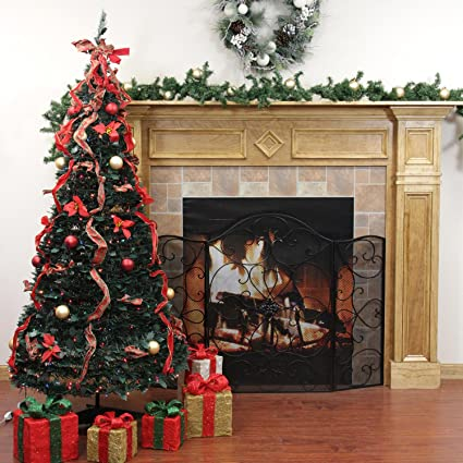 rich pacific 6 pre lit pop up decorated redgold and plaid artificial - Pre Lit Decorated Christmas Trees
