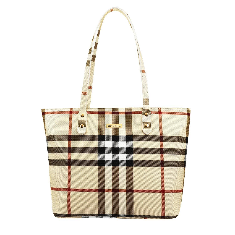 SEPT MIRACLE PU Leather Womens Portable Handbags Tote Bag Shoulder Bag Purse (Khaki with zipper plus)
