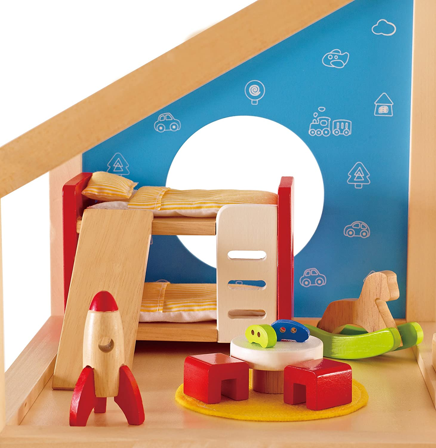Amazon.com: Hape Wooden Doll House Furniture Childrenu0027s Room With  Accessories: Toys U0026 Games