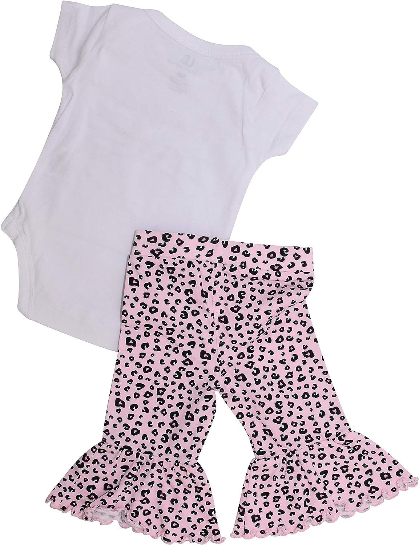 Unique Baby Girls 3 Piece Leopard Print Onesie Pant Headband Outfit Set 6m