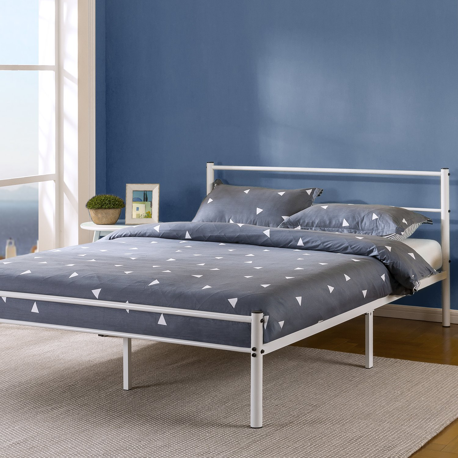 Zinus Geraldine 12 inch White Metal Platform Bed Frame with Headboard and Footboard / Premium Steel Slat Support / Mattress Foundation, Full by Zinus