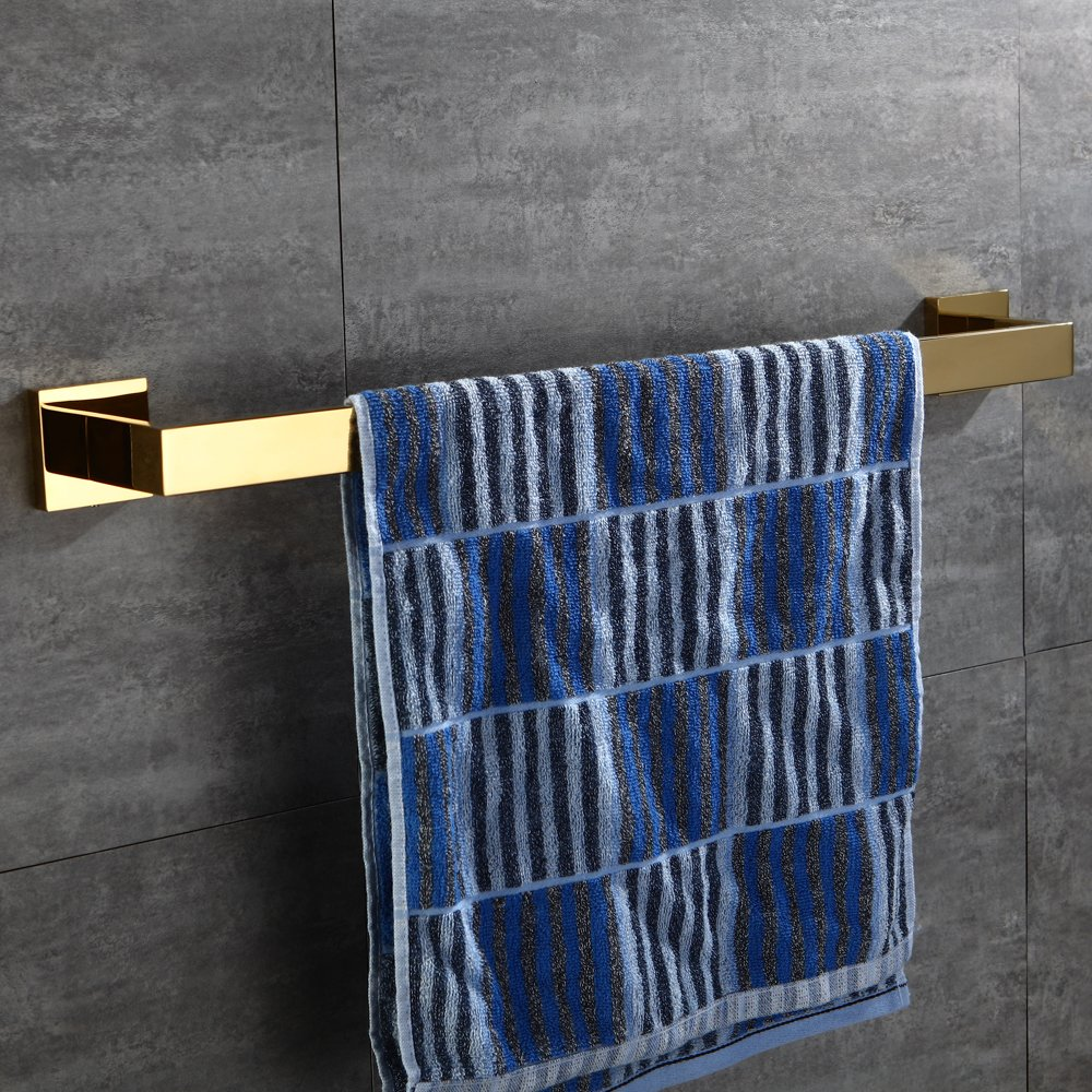 Single Towel Bar CASEWIND Toallero de Barra de toallero con Barra de Acero Inoxidable Estilo de Lujo para ba/ño de 60 cm de Largo Acero Inoxidable Dorado