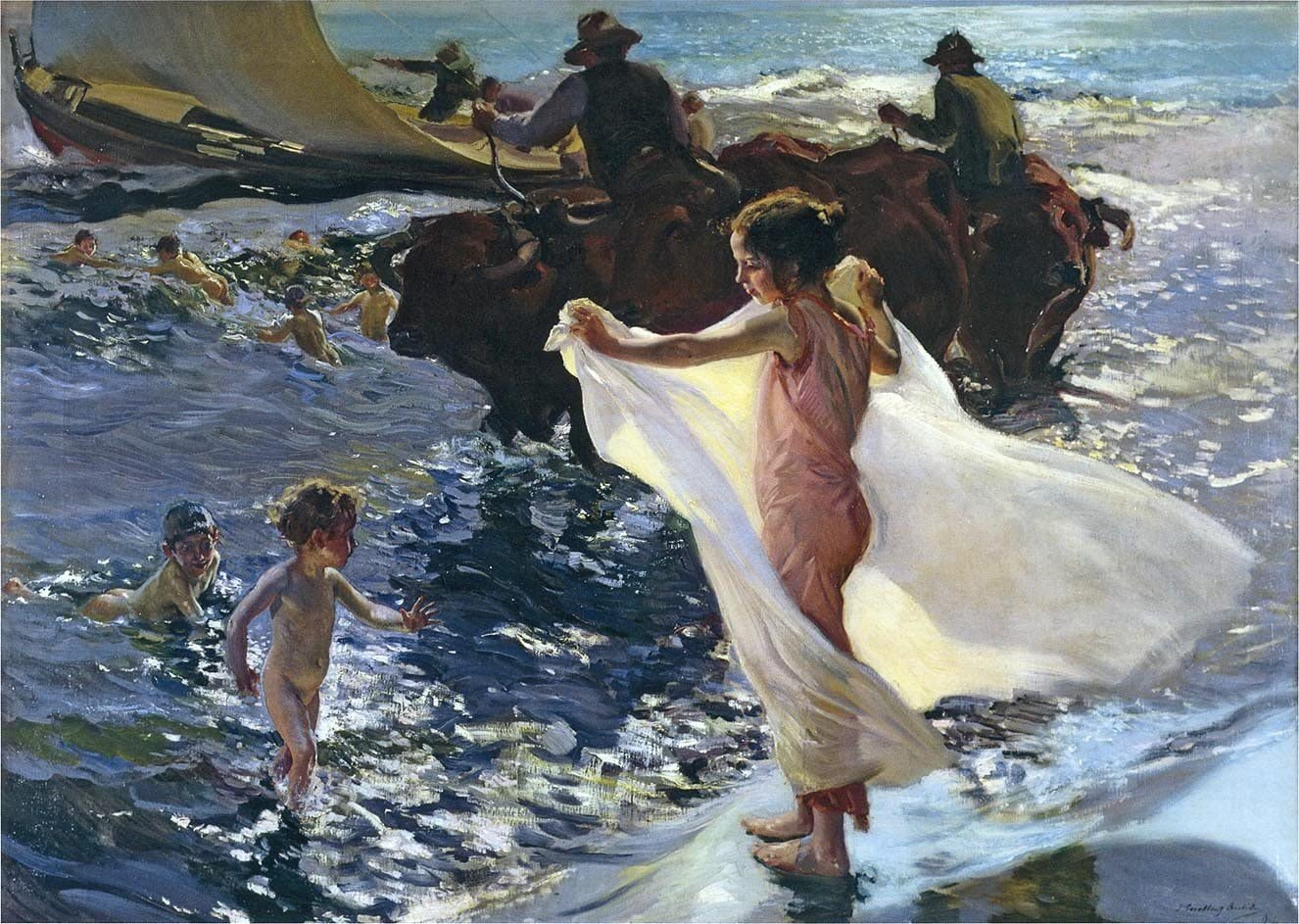 ODSAN Bathing Time - By Joaquin Sorolla Y Bastida - Impresión en lienzo 24x17 pulgadas - sin marco