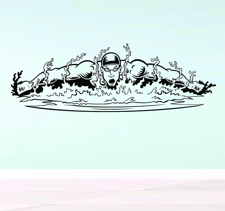 Amazon com guy swimming a race vinyl decal sticker wall girl bedroom beach surf nursery swim water pool child water home kitchen