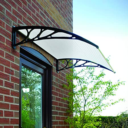 Black Door Canopy Opaque Corrugated Awning Shelter Roof Front Back Porch Outdoor Shade Patio Amazon.co.uk DIY u0026 Tools & Black Door Canopy Opaque Corrugated Awning Shelter Roof Front Back ...