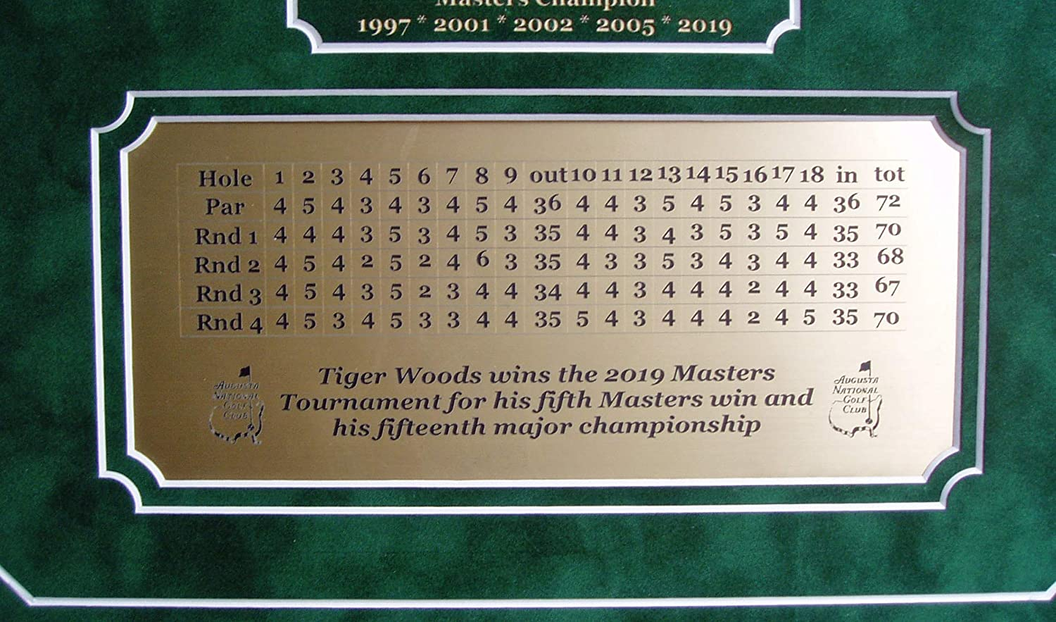 GFSF Tiger Woods Celebrating 2019 Masters Championship 8x10 Professionally Framed with Engraved Scorecard Nameplate