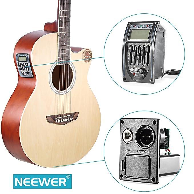 Ecualizador acústico Neewer® de 5 Bandas para Guitarra, preamplificador, sintonizador con Pantalla LCD: Amazon.es: Electrónica