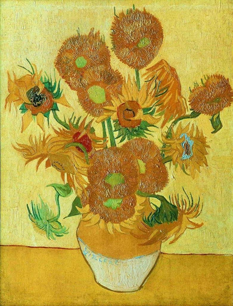 Gogh Vincent van The Sunflowers 2 100% Hand Painted Oil Paintings Reproductions 12X16 Inch by B-Arts