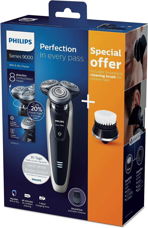 Philips Serie 9000 S9090/43 Máquina de afeitar, cabezales de 8 direcciones, uso en seco/húmedo, 40 min de batería, recortador de precisión, cepillo limpiador facial y funda de viaje, perla metálico: Amazon.es: Salud