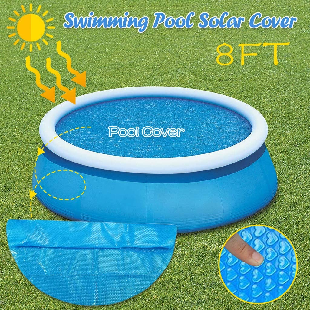 Round Pool Solar Cover Protector,8/10/12/15foot Ground Swimming Pool Heat-Absorbing Protective Cover,Thermal Blanket,Round Pool Cover for Used to Clean Swimming Pools, Pool Heat Storage (8 Foot)