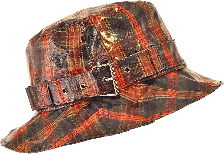 TOUTACOO, Waterproof Wax Style Checkered Bucket Rain Hat (Brown/Orange) at  Women's Clothing store