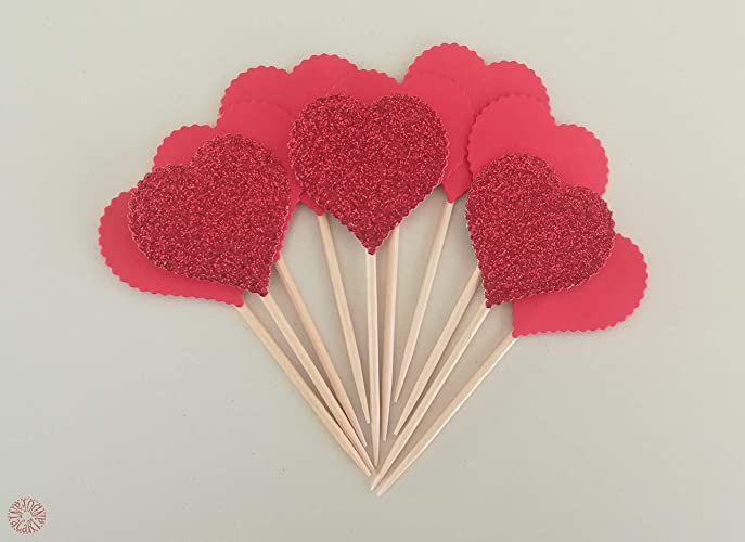 3b373aa5f Amazon.com  Kit 10 heart cupcake toppers to decorate the table for ...