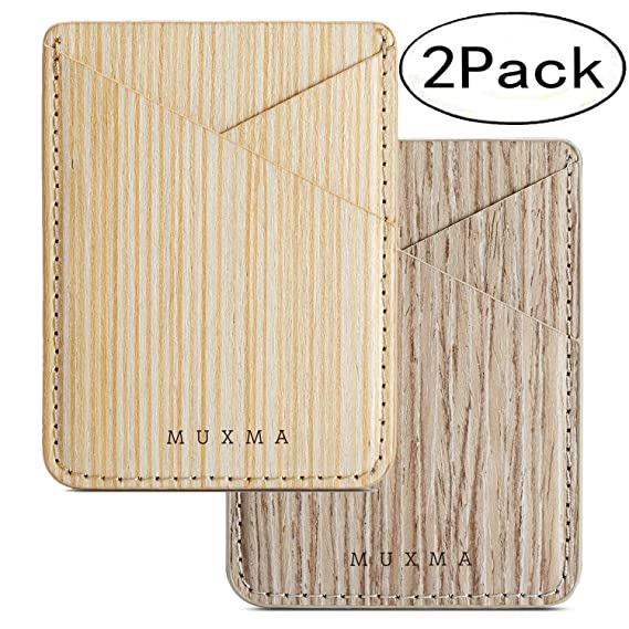 4e36202456 Phone Card Holder,Real Wood Pattern ID Credit Cover Stick on Card Holder  for Back