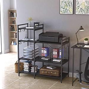 Kitchen Baker's Rack, 4 Tier Heavy Duty Utility Storage Organizer Shelf Unit Island, Microwave/Oven/Fryer Stand Table for Dining Room, (6 Metal Hooks) Black