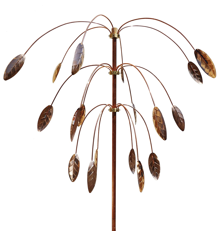 Stanwood Wind Sculpture: Kinetic Copper Triple Spinner - Falling Foliage
