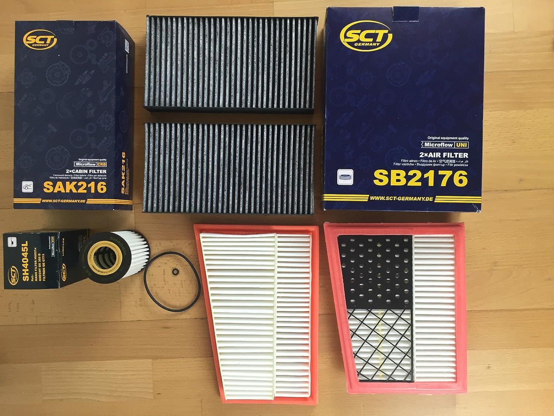 Ö lfilter 2 x Luftfilter 2 x Innenraumfilter mit Aktivkohle W164 W251 X164 CDI - bitte Beschreibung beachten SCT Germany
