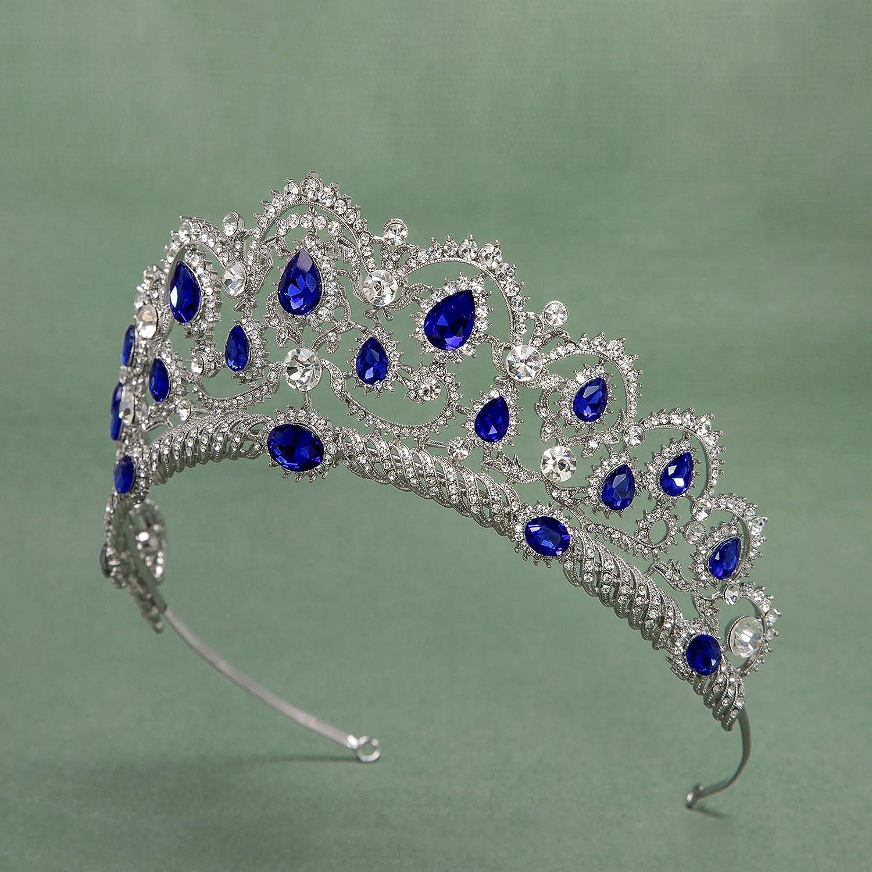 Diad/ème de Princesse en Strass Bleu SWEETV Couronne de Mariage pour Femme Couronne de Reine Accessoires Cheveux