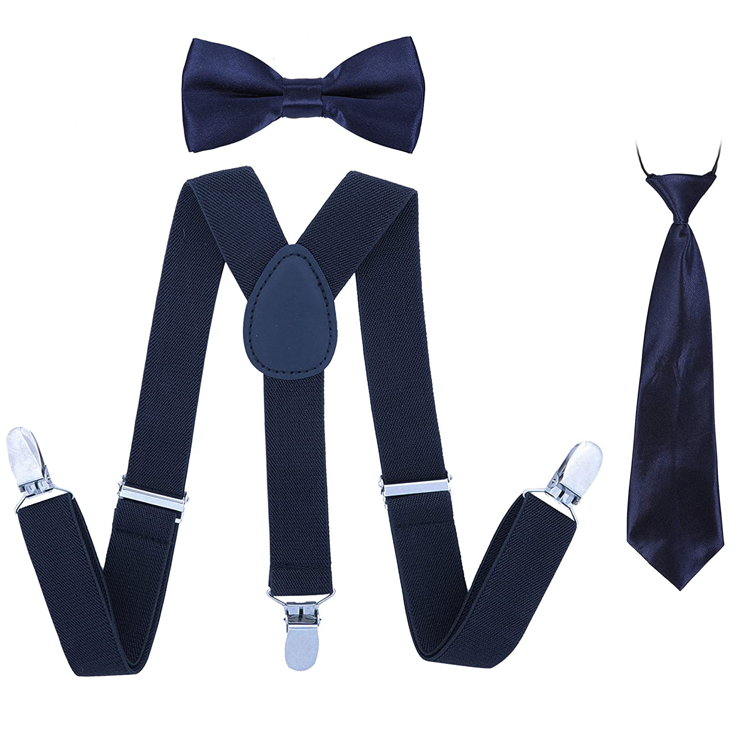 Boys Suspender Bowtie Necktie Sets - Adjustable Elastic Classic Accessory Sets for Boys & Girls (Navy Blue) Jerrybaby