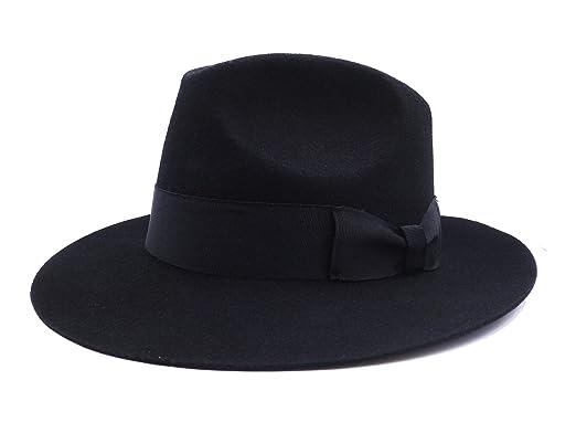 c226762bccc88 Fedora Wool-Felt Hat Classic Manhattan Mens Indiana Jones Hats Gangster  Stain Unisex(Black