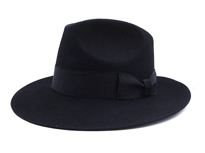 80bf74393b7 Fedora Wool-Felt Hat Classic Manhattan Mens Indiana Jones Hats Gangster  Stain Unisex(Black