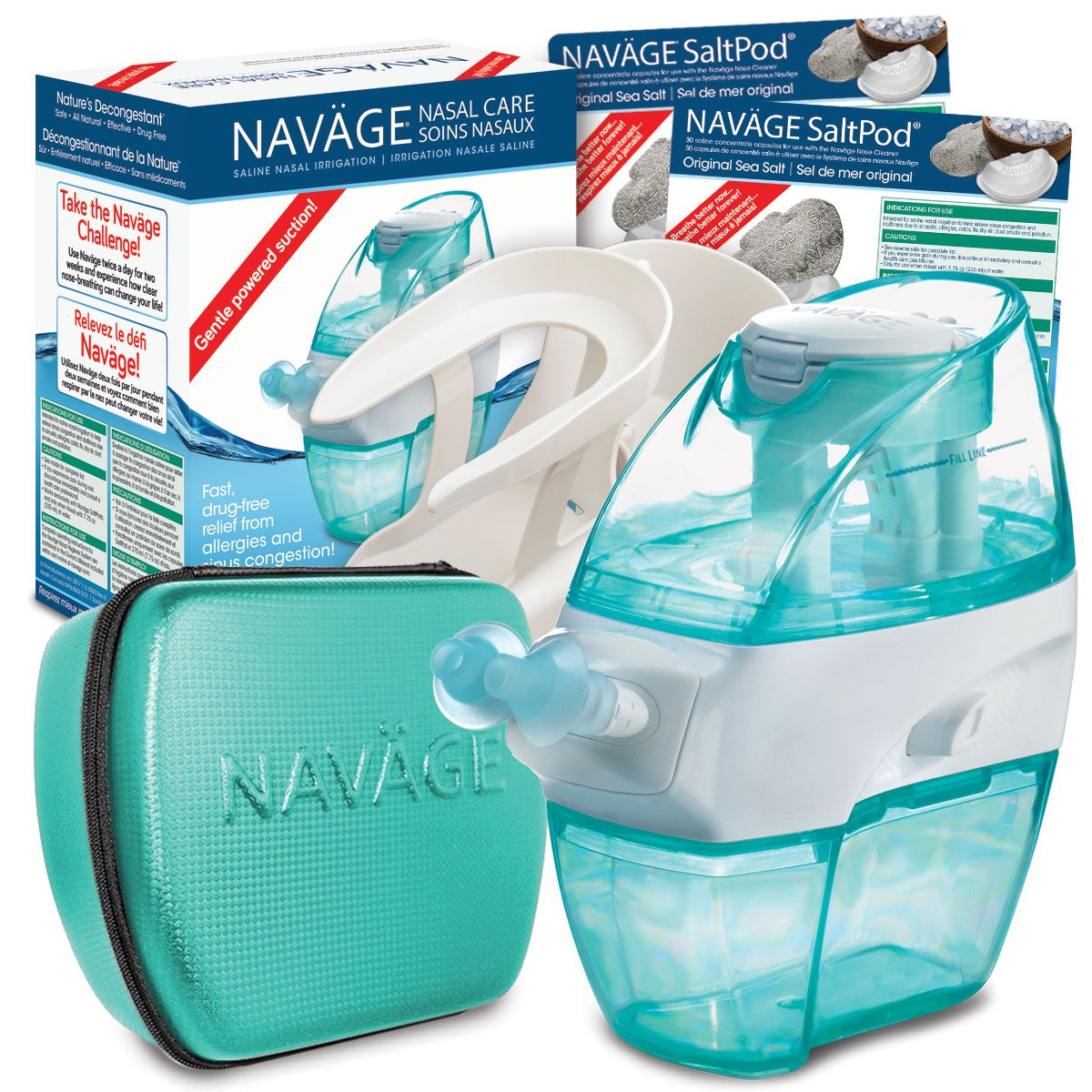 Navage Nasal Irrigation Deluxe Bundle: Naväge Nose Cleaner, 60 SaltPod Capsules, Countertop Caddy, and Travel Case. $160.75 if purchased separately. You save $40.80 (25%) by Navage (Image #1)