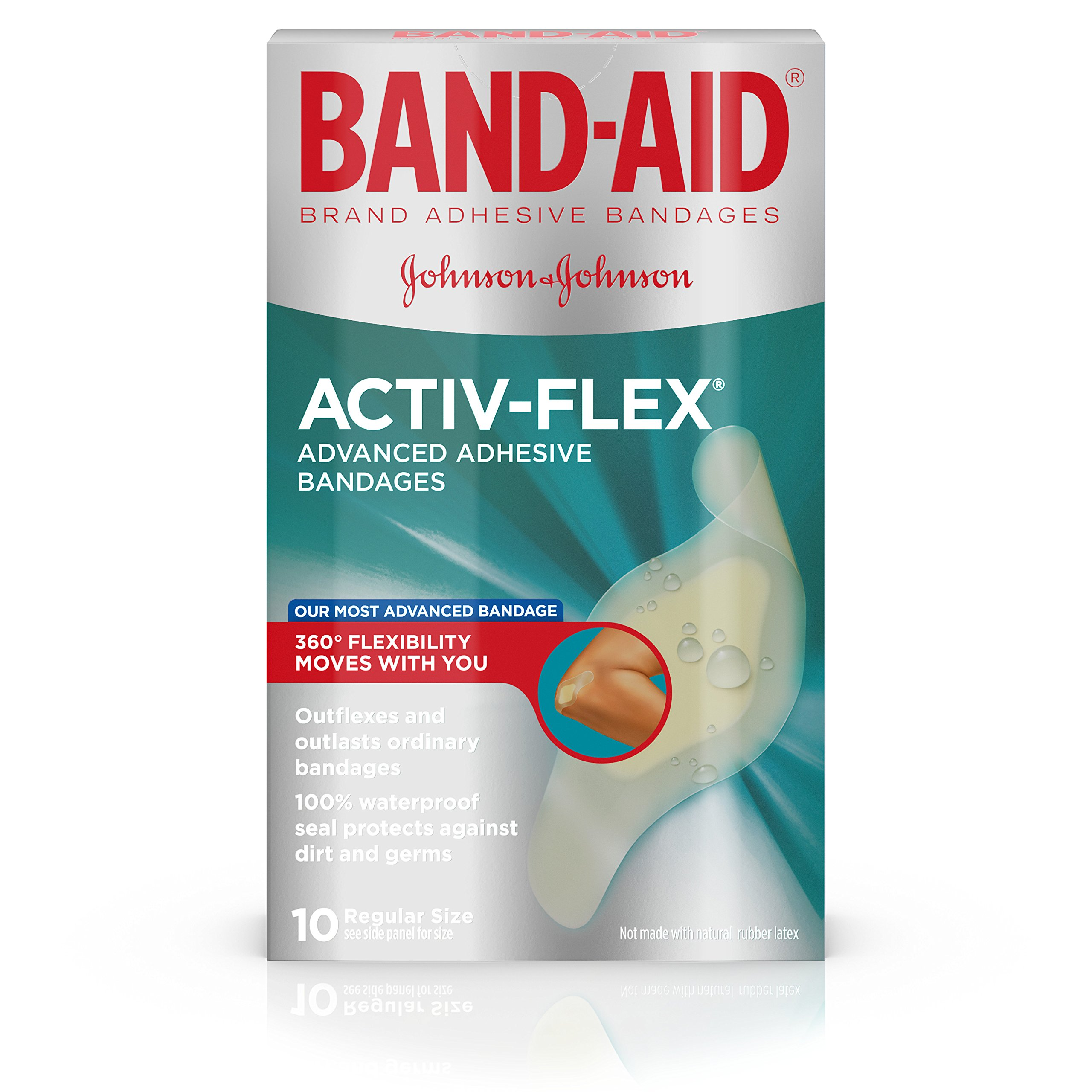 Band-aid Brand Adhesive Bandages Activ-Flex Regular, 10 Count Box, (Pack of 2)