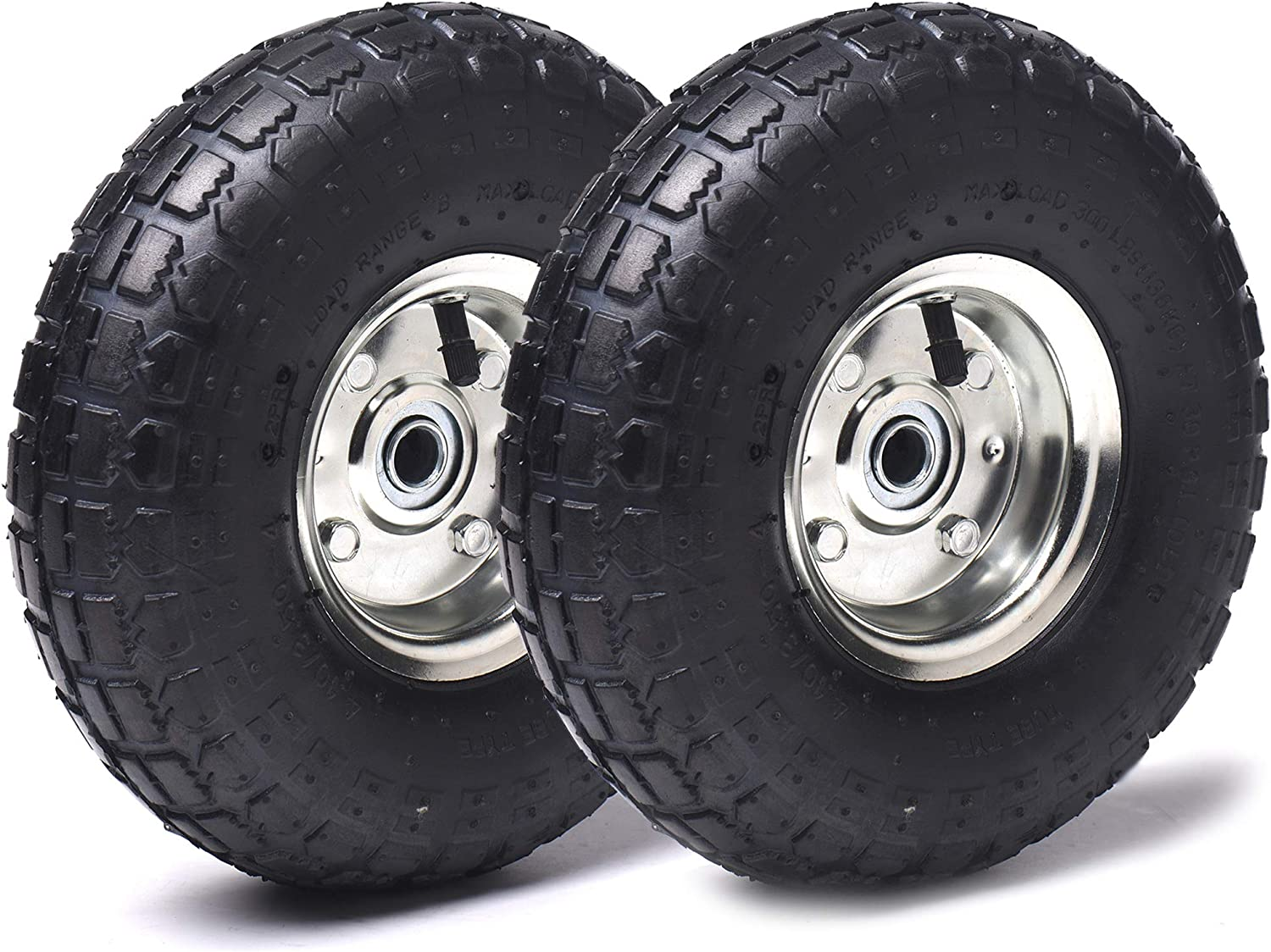 "AR-PRO (2- Pack) 4.10/3.50-4"" Heavy Duty Replacement Tires/Wheels/Inner Tubes 10"" with a 5/8"" Diameter Hole with Double Sealed Bearings"