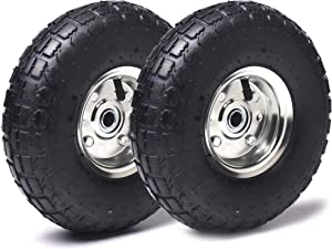 """AR-PRO (2- Pack) 4.10/3.50-4"""" Heavy Duty Replacement Tires/Wheels/Inner Tubes 10"""" with a 5/8"""" Diameter Hole with Double Sealed Bearings"""