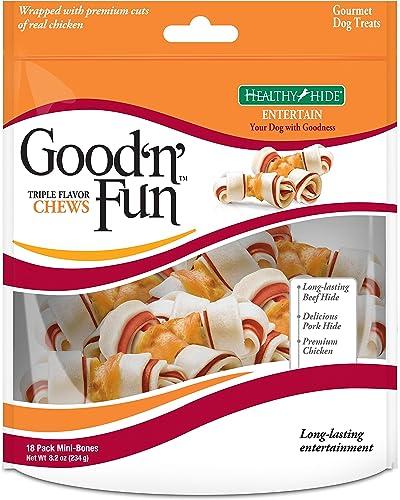 Good N Fun Triple Flavor Mini Rawhide Chews, 18-Count