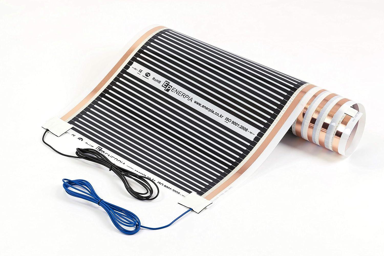 Folienbreite 50cm, 5.0m in der gew/ählten L/änge und Leistung mit fest konfektionierten 3m Anschlusskabel unter Laminat /& Parkett f/ür Fu/ßbodenheizung Heizfolie 220W//m2