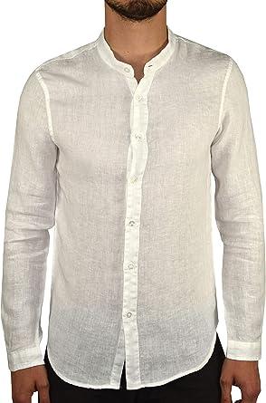 1stAmerican Camisa 100% Lino Hombre Cuello Mao - Manga Larga Slim Fit Made in Italy: Amazon.es: Ropa y accesorios