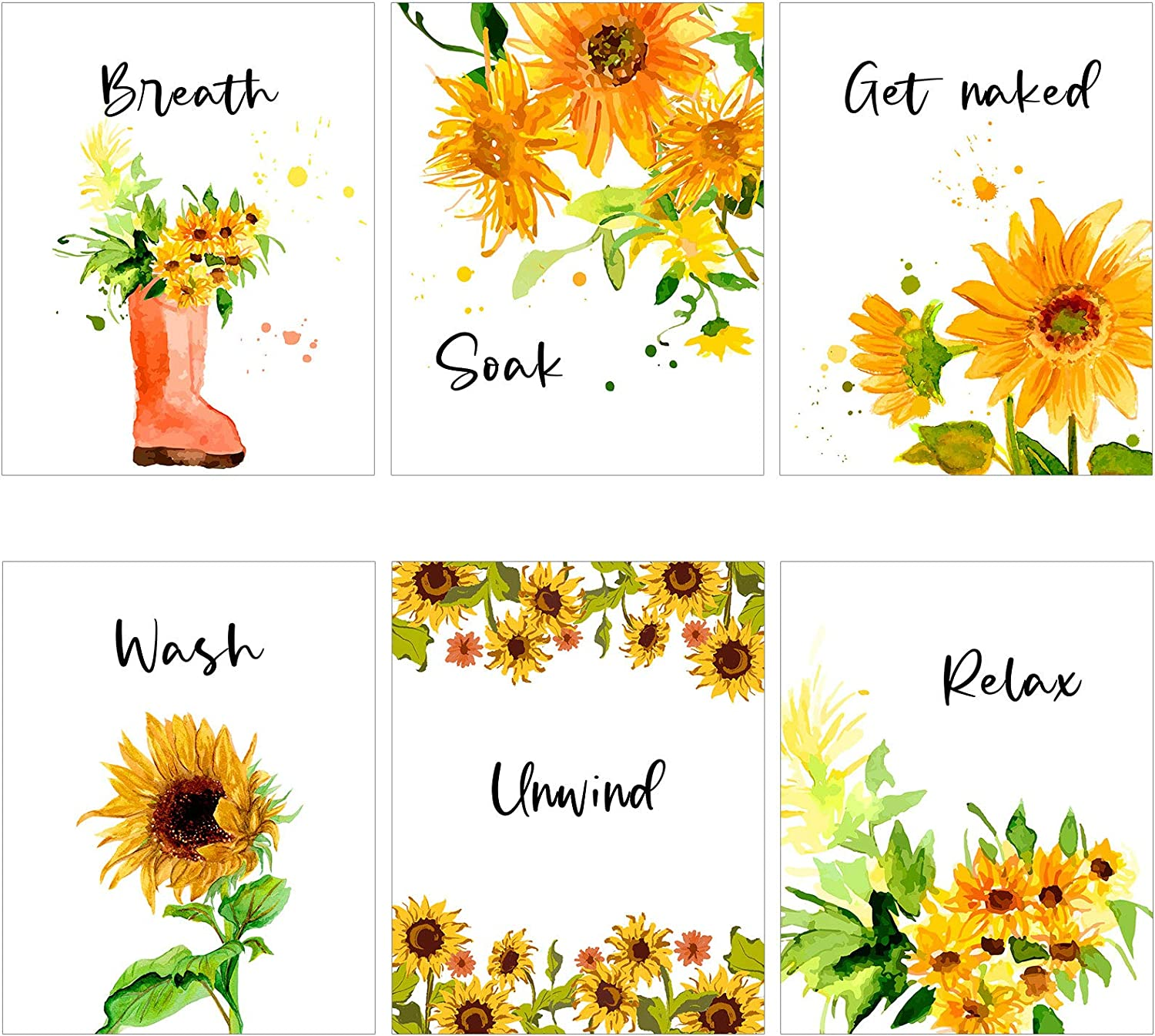 6 Pieces Vinyl Sunflower Wall Decor Sunflower Wall Art Posters Relax Soak Unwind Breathe Wash Get Naked Sunflower Painting Sticker Print For Bathroom Living Room Signs (8 x 10 Inch)