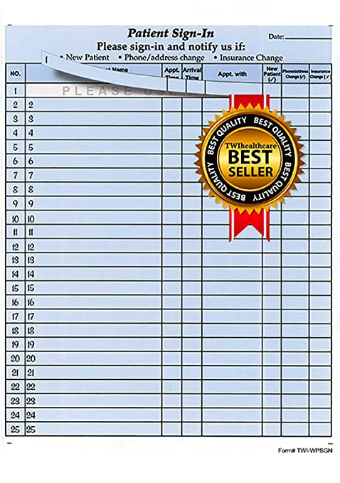 amazon com patient sign in sheets 8 1 2 x 11 blue carbonless