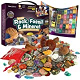 Rock, Fossil & Mineral Collection & Activity Kit. Includes 250+ Real Gemstones, Crystals Specimens & Jumbo Learning Mat - Sci