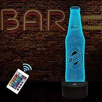 FULLOSUN 3D-nachtlampje, bierflesje illusie lampdecoratie voor bar, thuiskeuken, eettafel met 16 kleuren veranderen…