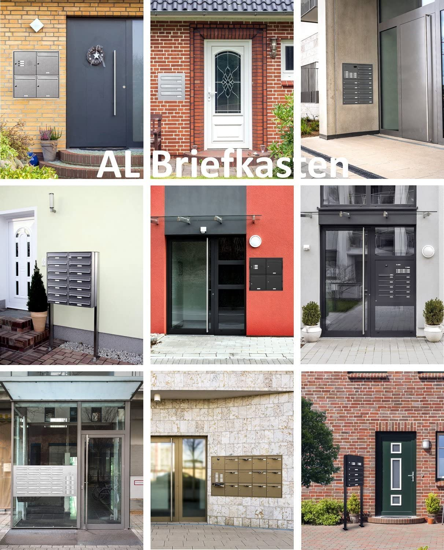 AL Briefkastensysteme 7er Edelstahl Standbriefkasten mit Klingel rostfrei als 7 Fach Briefkastenanlage in Postkasten Briefkasten Design modern