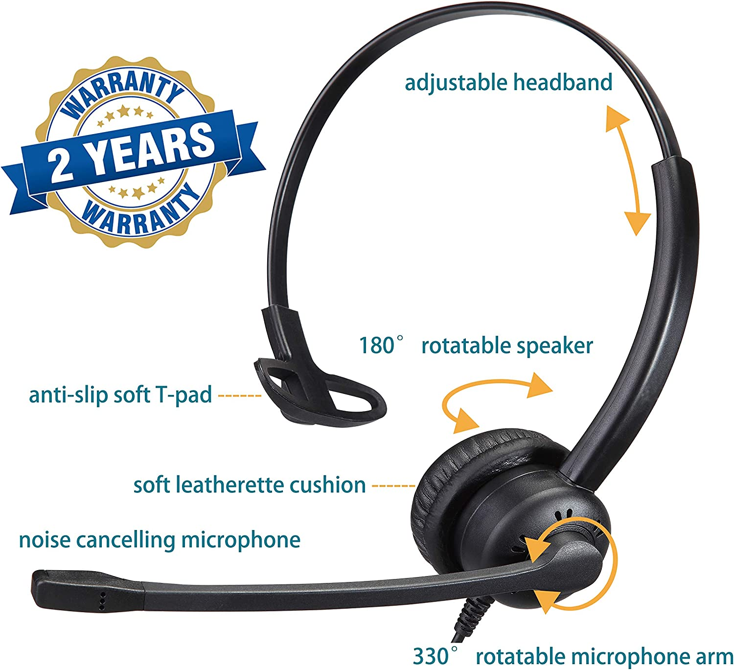 Yexatel USB Headset with Microphone Noise Cancelling for PC Computer for Zoom Skype Video Conferencing Online Meeting Remote Work Speech Recognition Inline Mute Button Volume Control Gold Single Ear