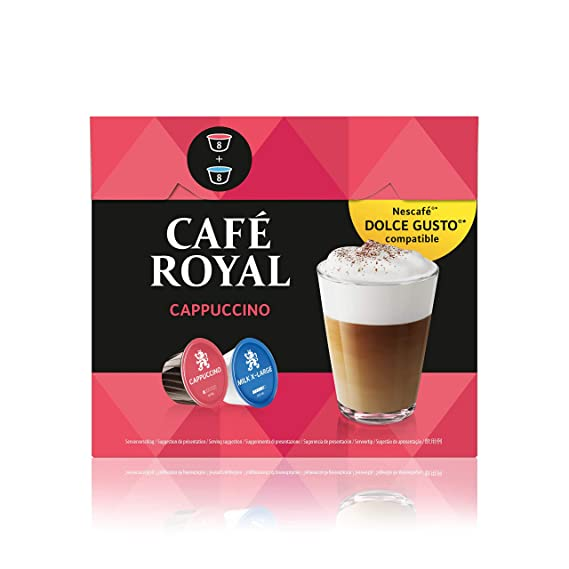 CAFÉ ROYAL Capuchino, Capuchino, Café, Cápsulas de Café Nescafé Dolce Gusto Compatibles,