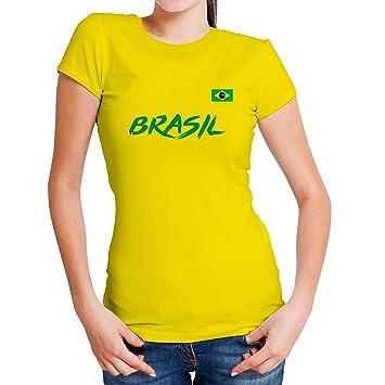 b72e87a59953d Lolapix Camiseta seleccion de fútbol Personalizada con Nombre y número.  Camiseta de algodón para Mujer. Elige tu seleccion. Brasil  Amazon.es  Hogar