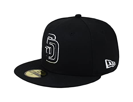 low cost 8a4b4 1cc20 New Era 59Fifty Men s Hat MLB San Diego Padres Black White Fitted Headwear  Cap (