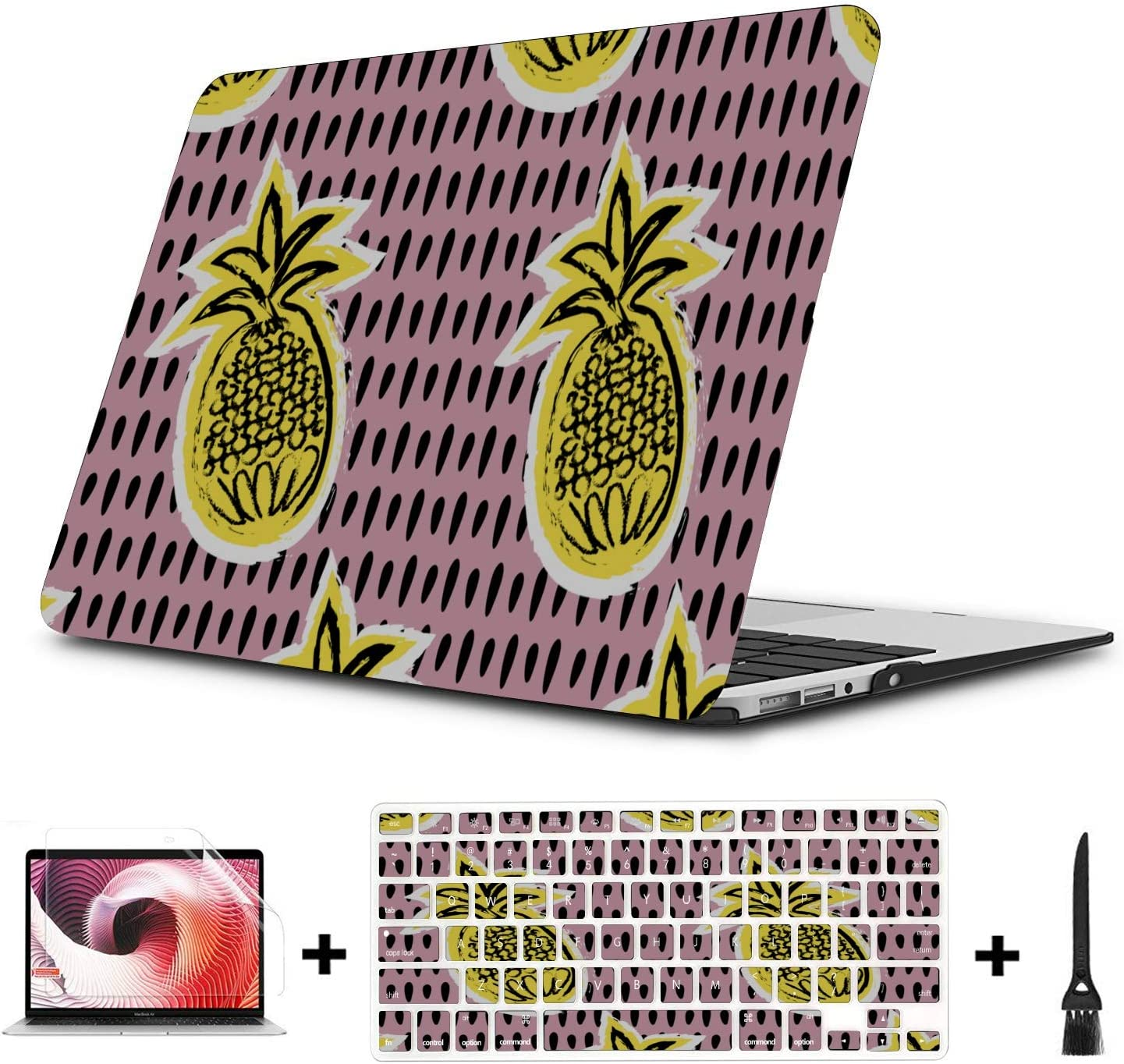 15inch MacBook Pro Case Summer Retro Sweet Fruit Pineapple Plastic Hard Shell Compatible Mac Air 11 Pro 13 15 Laptop Hard Cases Protection for MacBook 2016-2019 Version