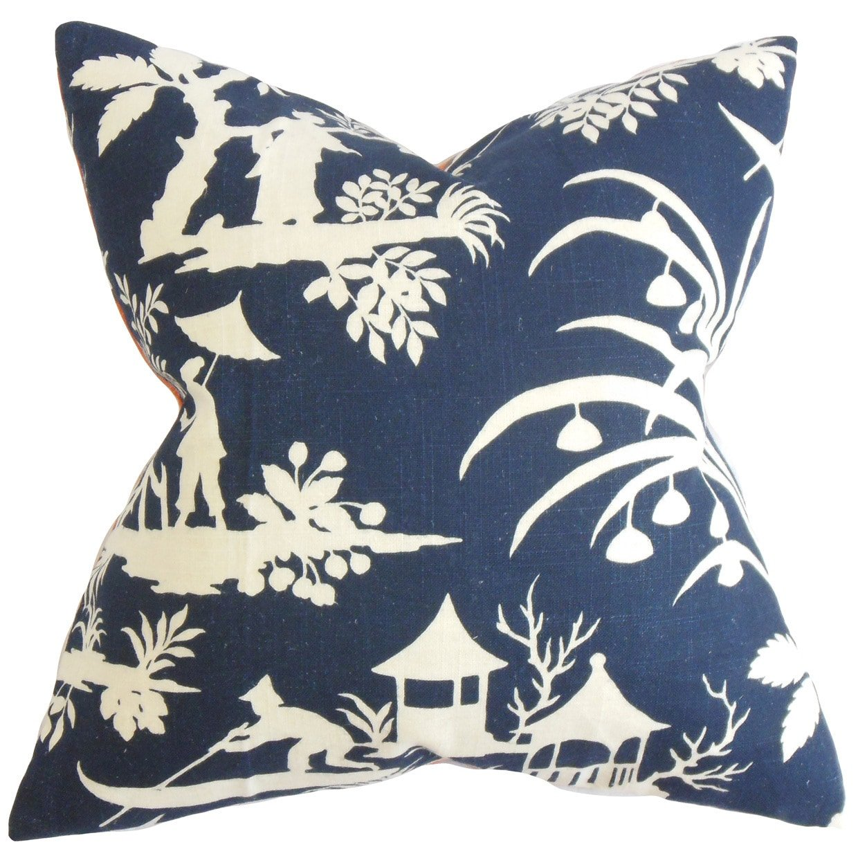 The Pillow Collection Liya Floral Blue Down Filled Throw Pillow