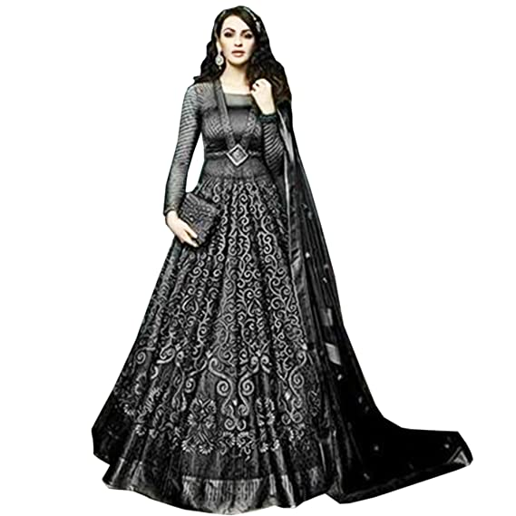 458a5c57367 Anarkali for women s ( FASHION CARE Present embroidered work Net Semi-Stitched  Anarkali Suit for women s color Top  - Black ...