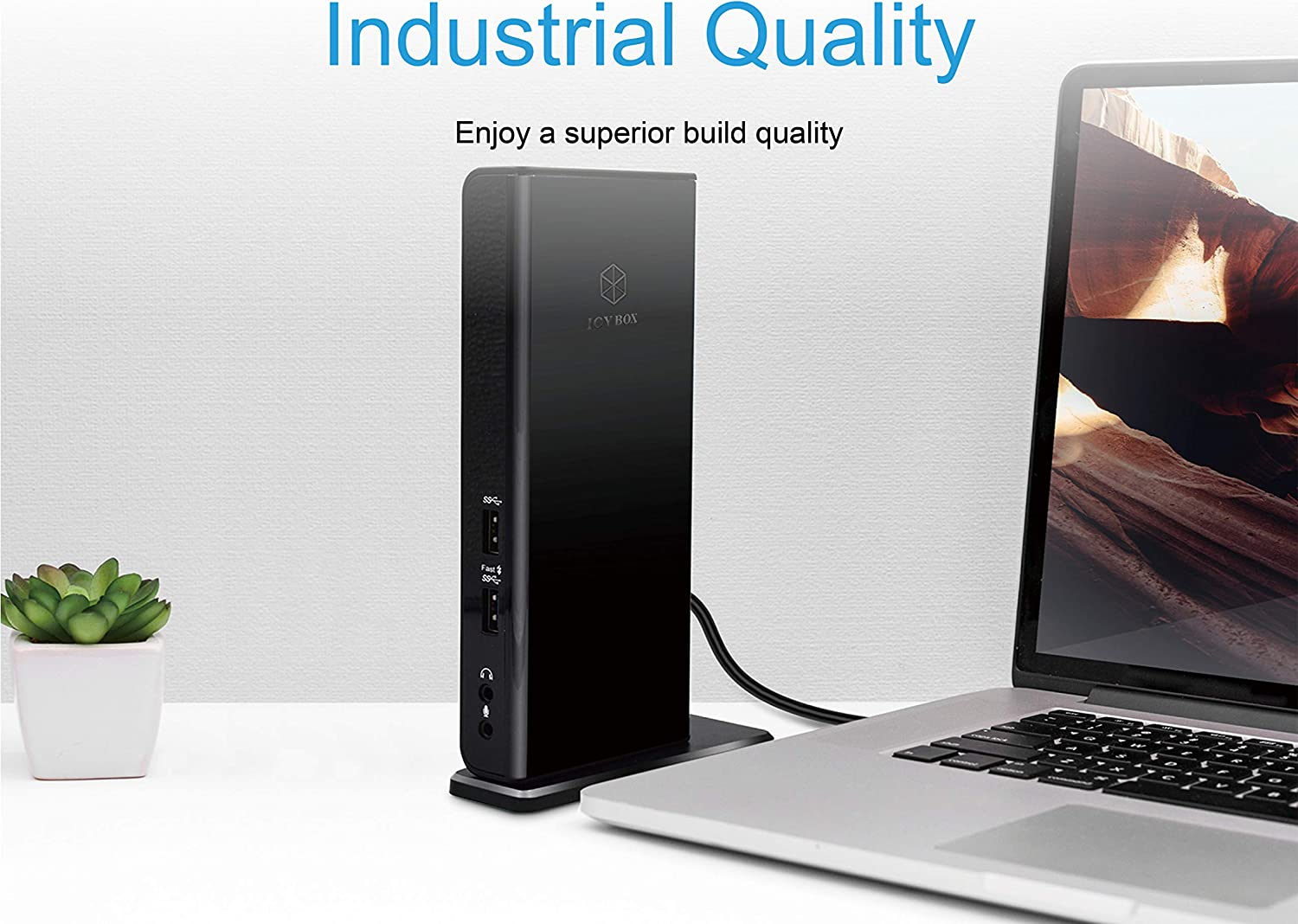 Dual Monitor Dock with USB B to A//C Cable ICY BOX USB 3.0 Universal Laptop Docking Station for Windows//Mac Dual HDMI, Gigabit Ethernet, Audio, 4 USB Ports
