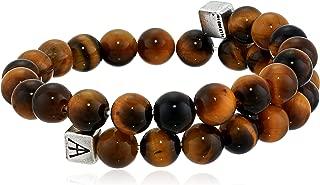 product image for Alex and Ani Men's Beaded Tiger's Eye Gemstone Wrap Bracelet, Tiger's Eye/Rafaelian Silver, Expandable