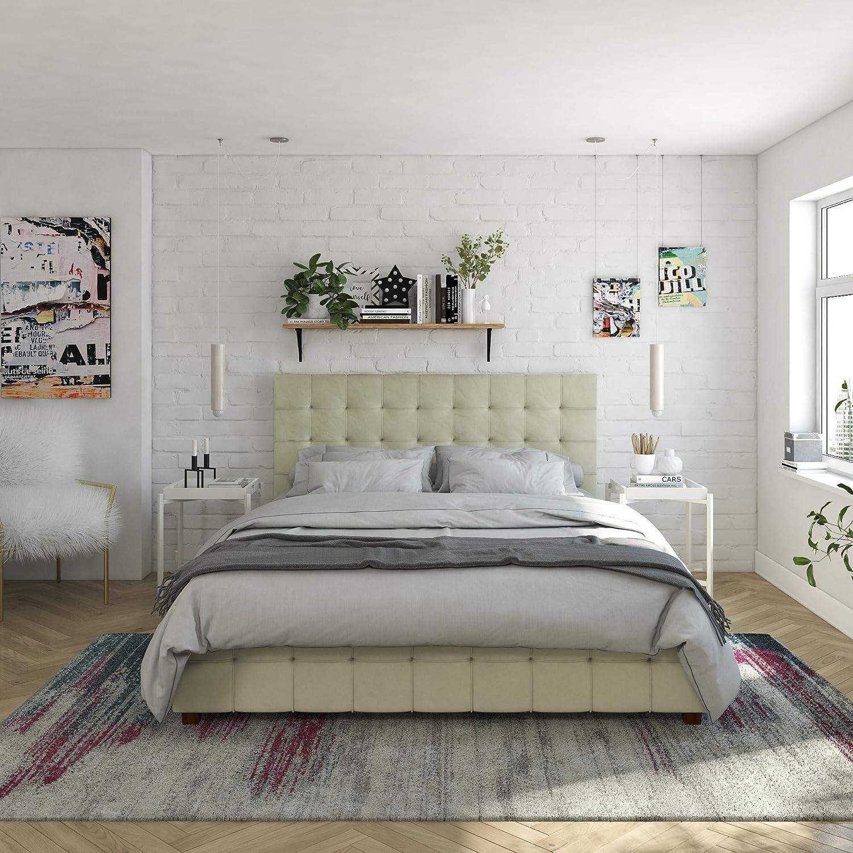CosmoLiving by Cosmopolitan Elizabeth Bed with Storage, Queen Size Frame, Ivory Velvet Upholstered