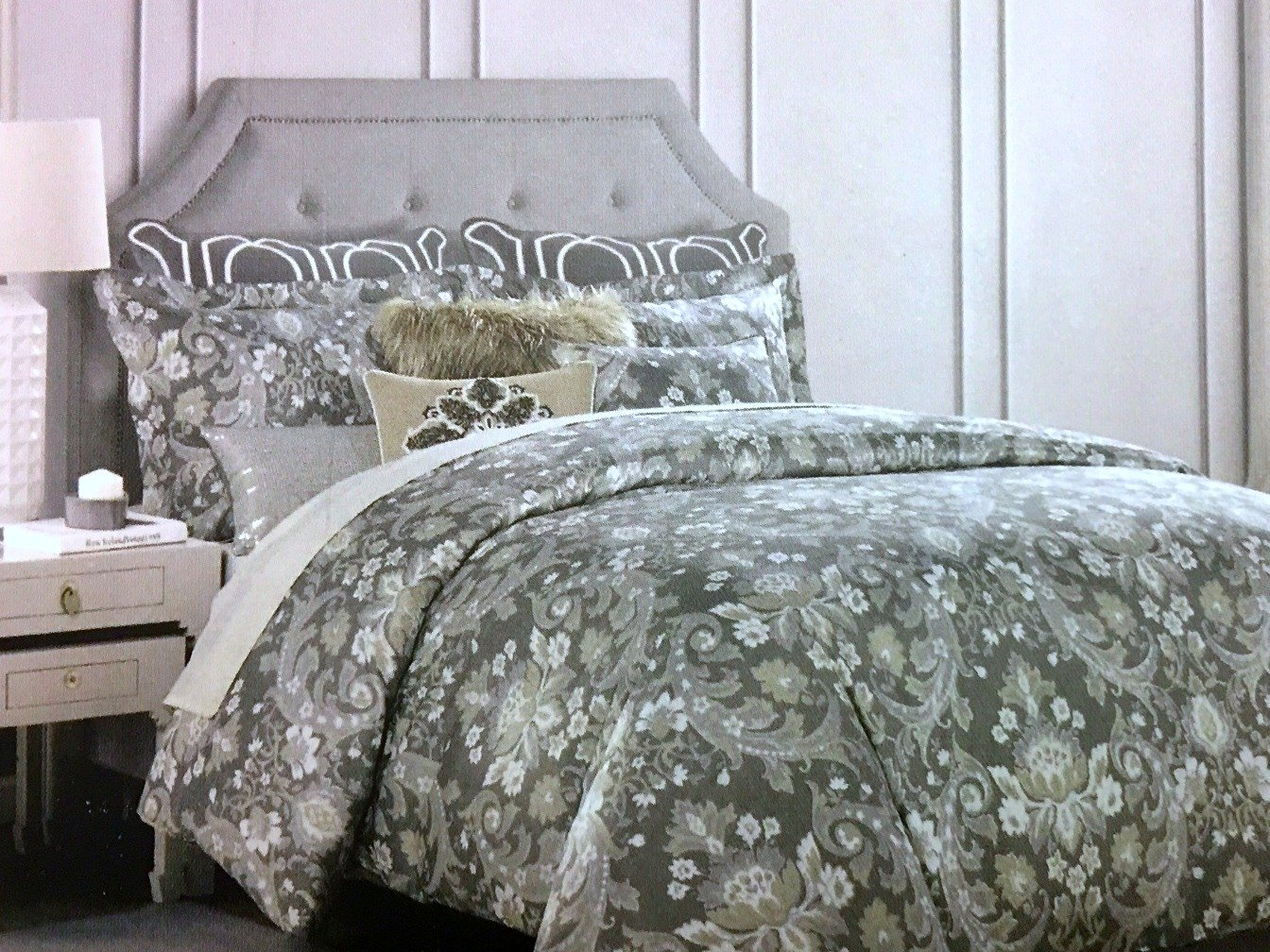 Tahari Home Full Queen 3 Piece Duvet Set | Sophisticated Floral Damask Medallion Pattern in Gray,Taupe, Beige, Cream, with Silver Highlights | 100% Easy Care Cotton, 300 TC