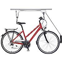 Relaxdays Fietslift, tot 20 kg, plafondlift met kabel, voor garage en kelder, fietsplafondhouder, zilver/zwart, 1 stuk