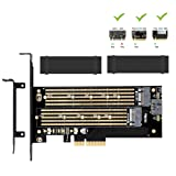 Dual M.2 PCIE Adapter for SATA or PCIE NVMe SSD With advanced heat sink solution,M.2 SSD NVME (m key) or SATA (b key) 22110 2280 2260 2242 2230to PCI-e 3.0 x 4 Host Controller Expansion Card (Color: Dual M.2 NVME and SATA Adapter Card)